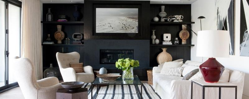 3-Living-room-with-a-black-wall-and-striped-carpet