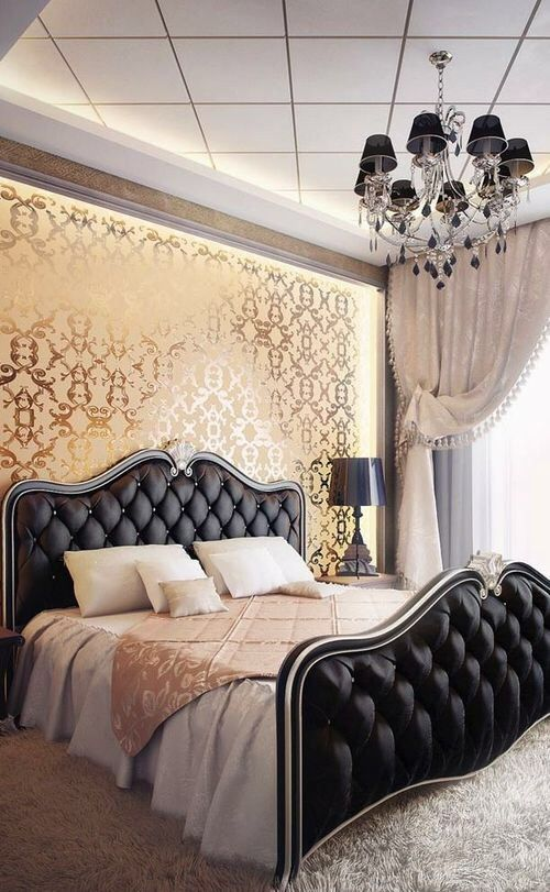 luxury-black-satin-headboard-idea