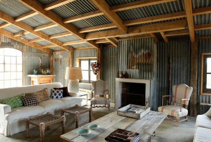 40 Rustic Living Room Ideas To Fashion Your Revamp Around: แต่งบ้านสังกะสี28