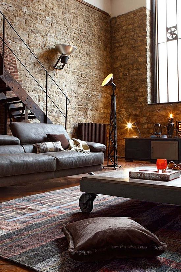 living room industrial style10